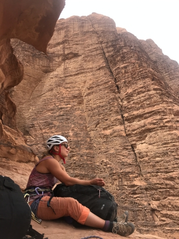 Marie taking break on Rijm Asaf, Jebel Rum