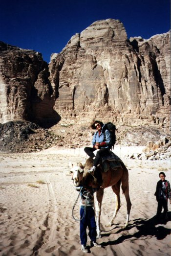 Maria in front of The East Face of Jebel Rum